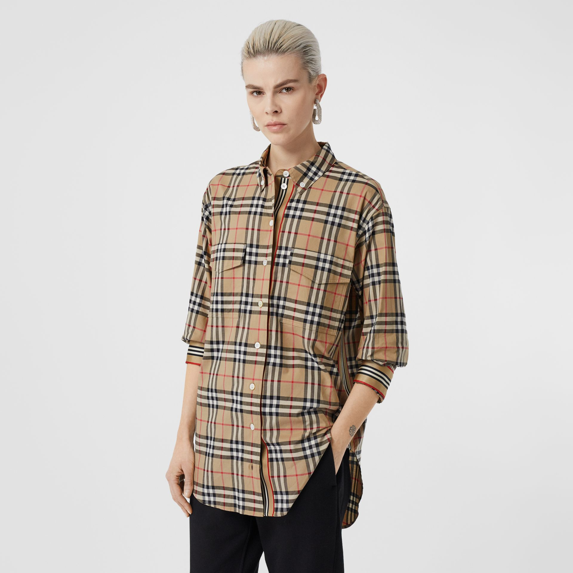 Vintage Check Stretch Cotton Oversized Shirt in Archive Beige - Women | Burberry - gallery image 5