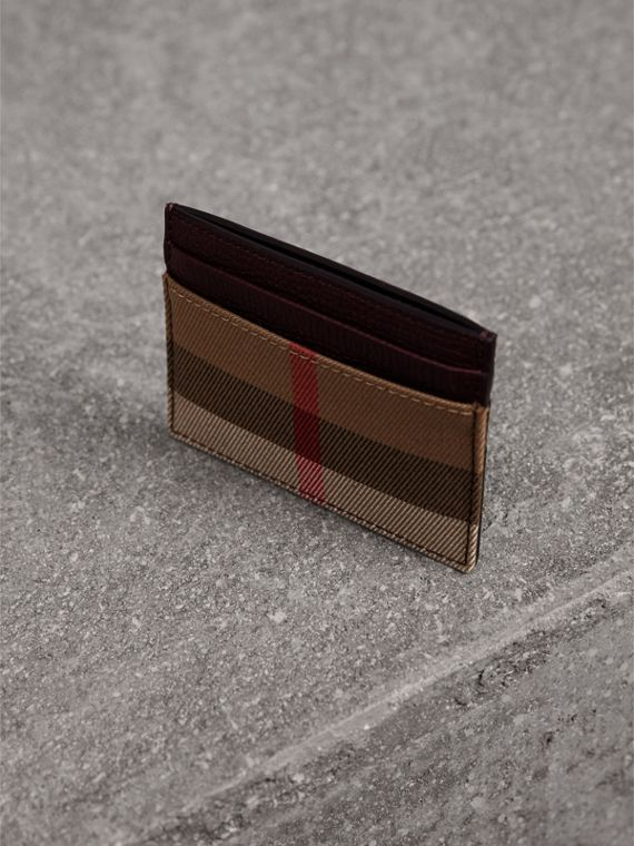 House Check and Grainy Leather Card Case in Wine | Burberry - cell image 2