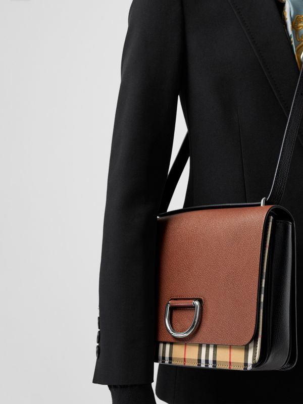 The Medium Vintage Check and Leather D-ring Bag in Tan/black - Women | Burberry Australia - cell image 3