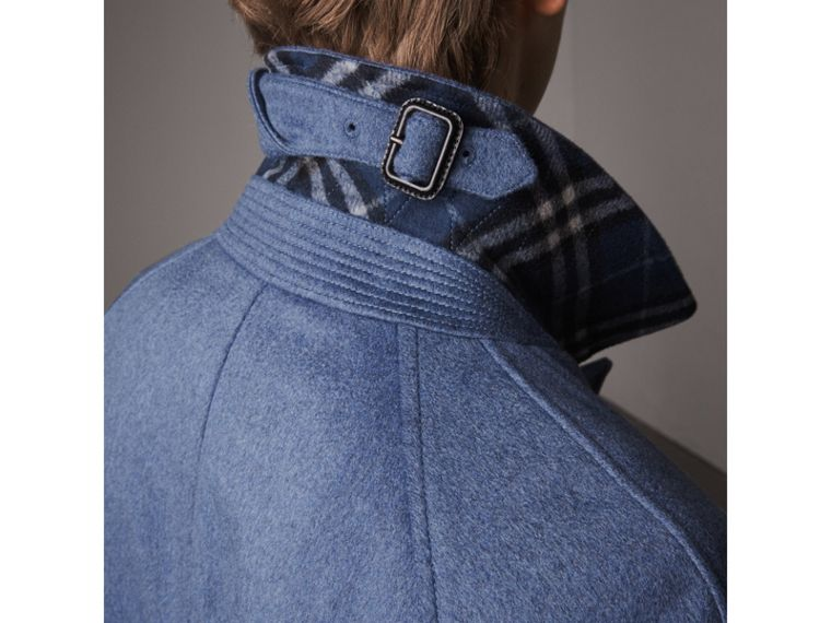 Cashmere Car Coat in Steel Blue Melange - Men | Burberry Singapore - cell image 1