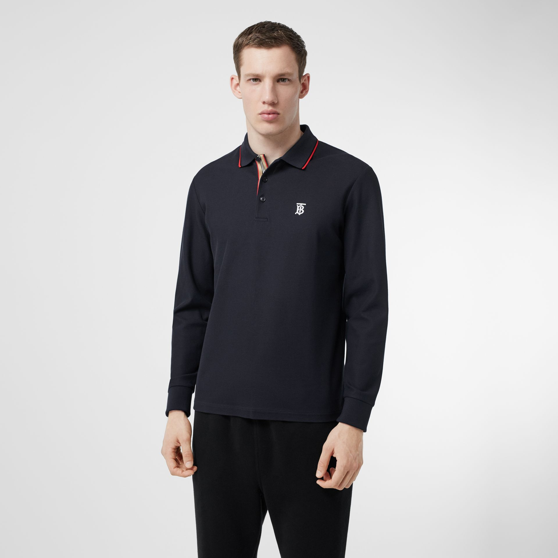 Long-sleeve Monogram Motif Cotton Piqué Polo Shirt in Navy - Men | Burberry Hong Kong S.A.R - gallery image 4