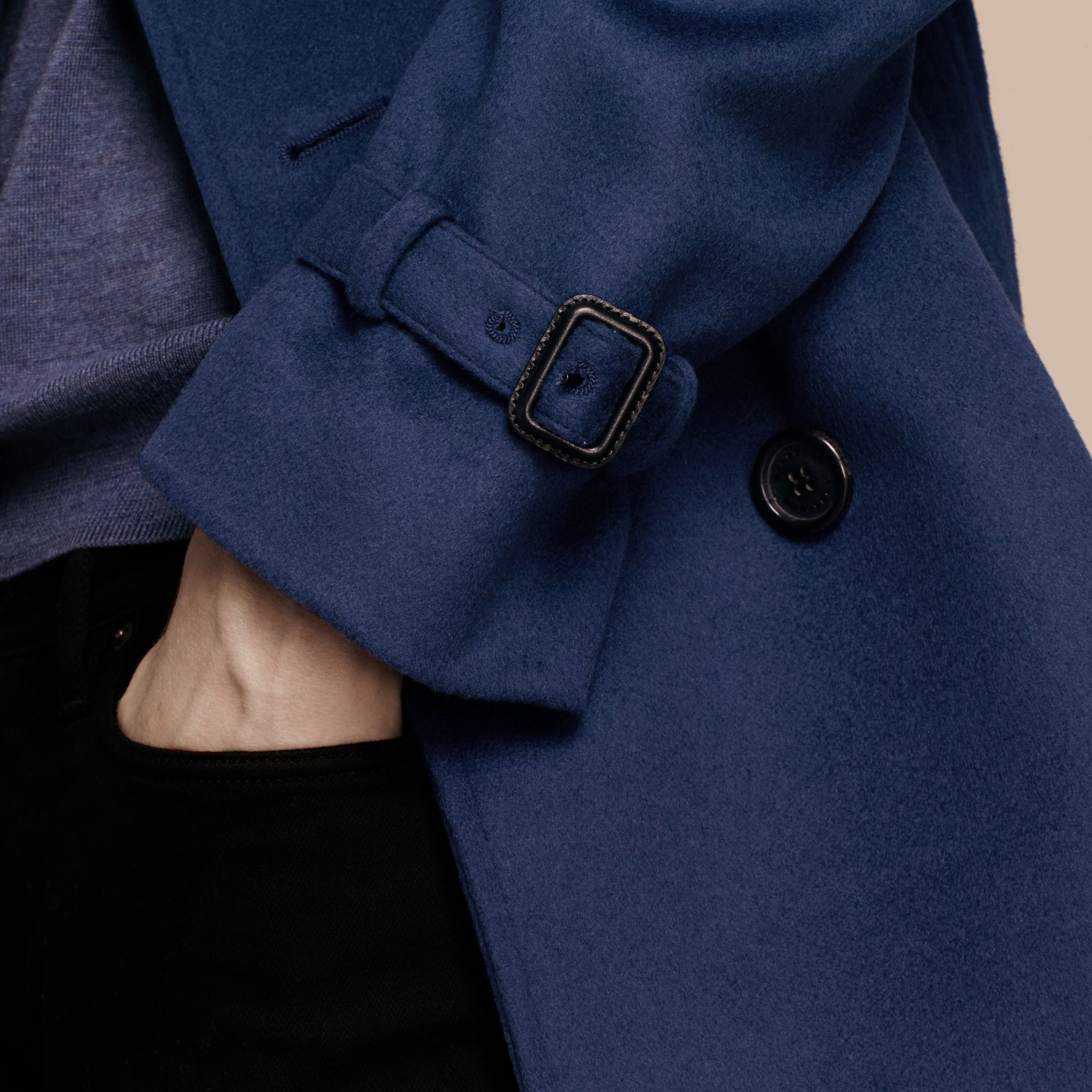 Bright steel blue Wool Cashmere Trench Coat - gallery image 7
