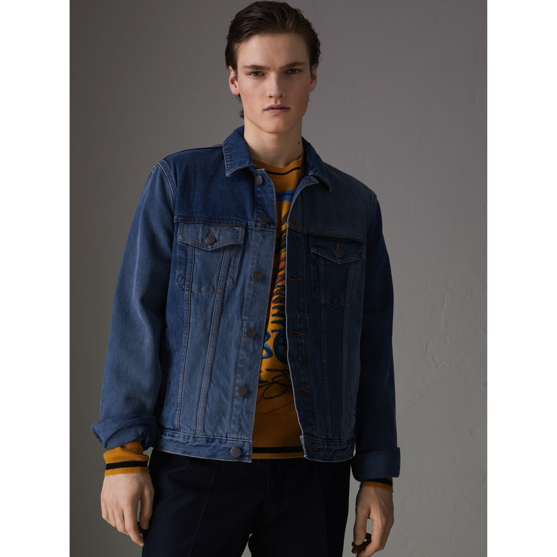 Two-tone Denim Jacket in Indigo - Men | Burberry Australia - gallery image 4