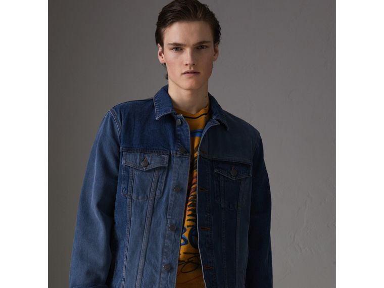Two-tone Denim Jacket in Indigo - Men | Burberry - cell image 4