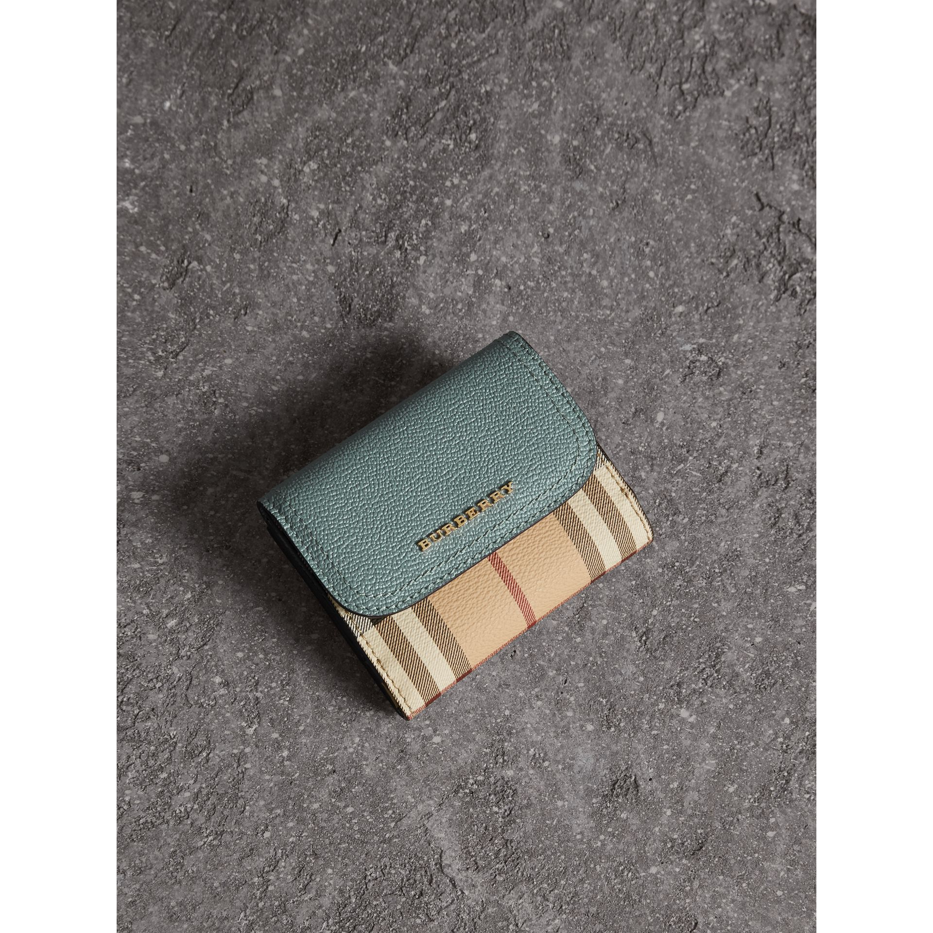 Leather and Haymarket Check Wallet in Eucalyptus Green/multicolour - Women | Burberry - gallery image 1