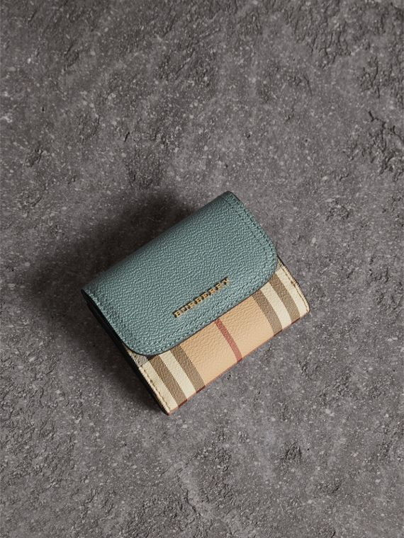 Leather and Haymarket Check Wallet in Eucalyptus Green/multicolour