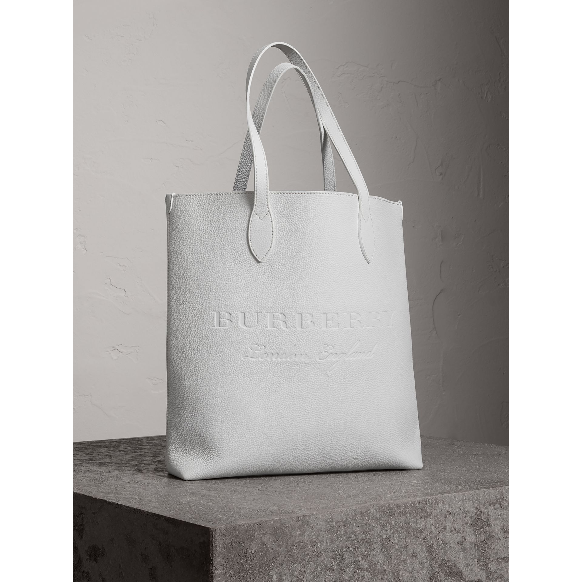 Medium Embossed Leather Tote in Chalk White | Burberry - gallery image 4