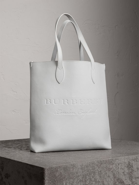 Medium Embossed Leather Tote in Chalk White