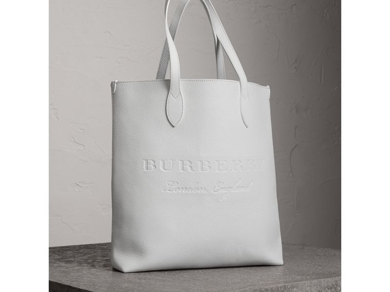 Medium Embossed Leather Tote in Chalk White | Burberry - cell image 4
