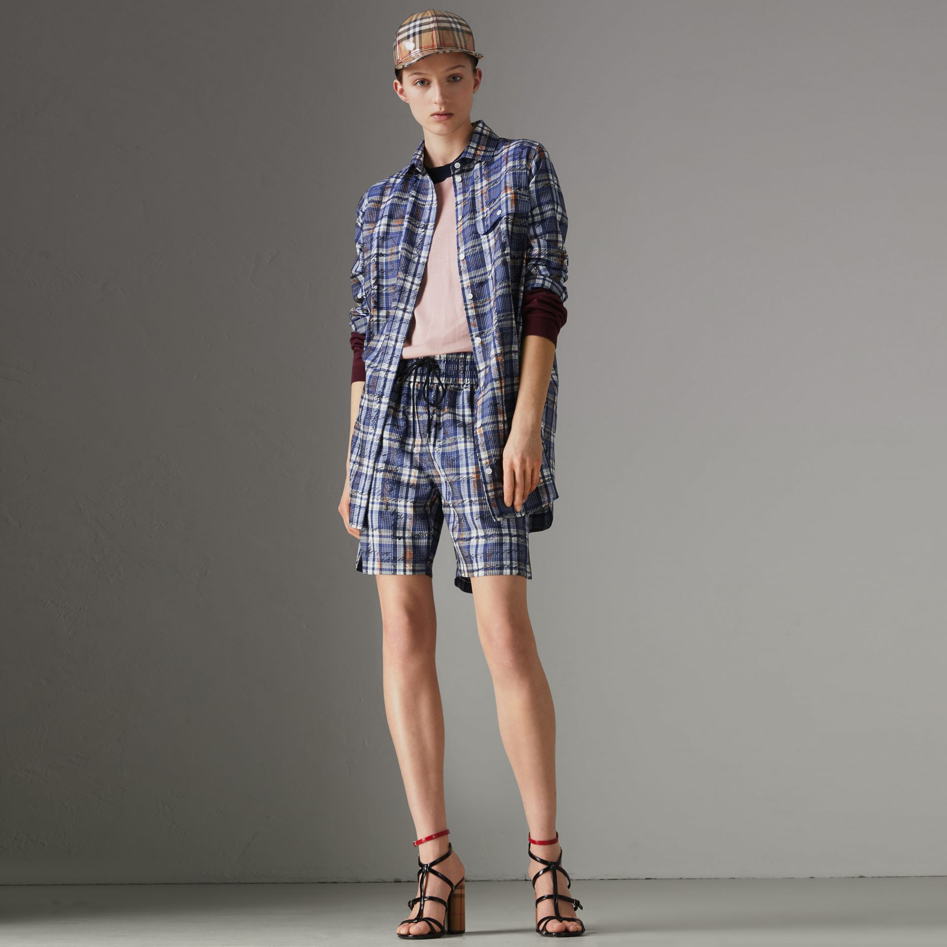 Scribble Check Silk Shirt in Navy/white - Women | Burberry Singapore - gallery image 0