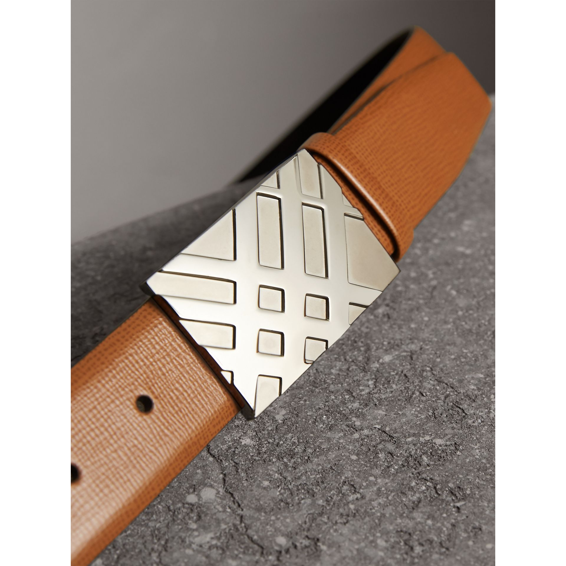 Embossed Check Detail London Leather Belt in Tan - Men | Burberry - gallery image 2
