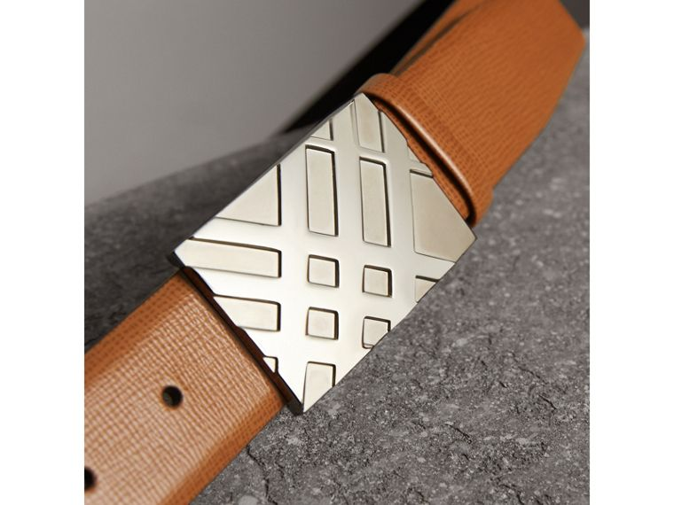 Embossed Check Detail London Leather Belt in Tan - Men | Burberry - cell image 1