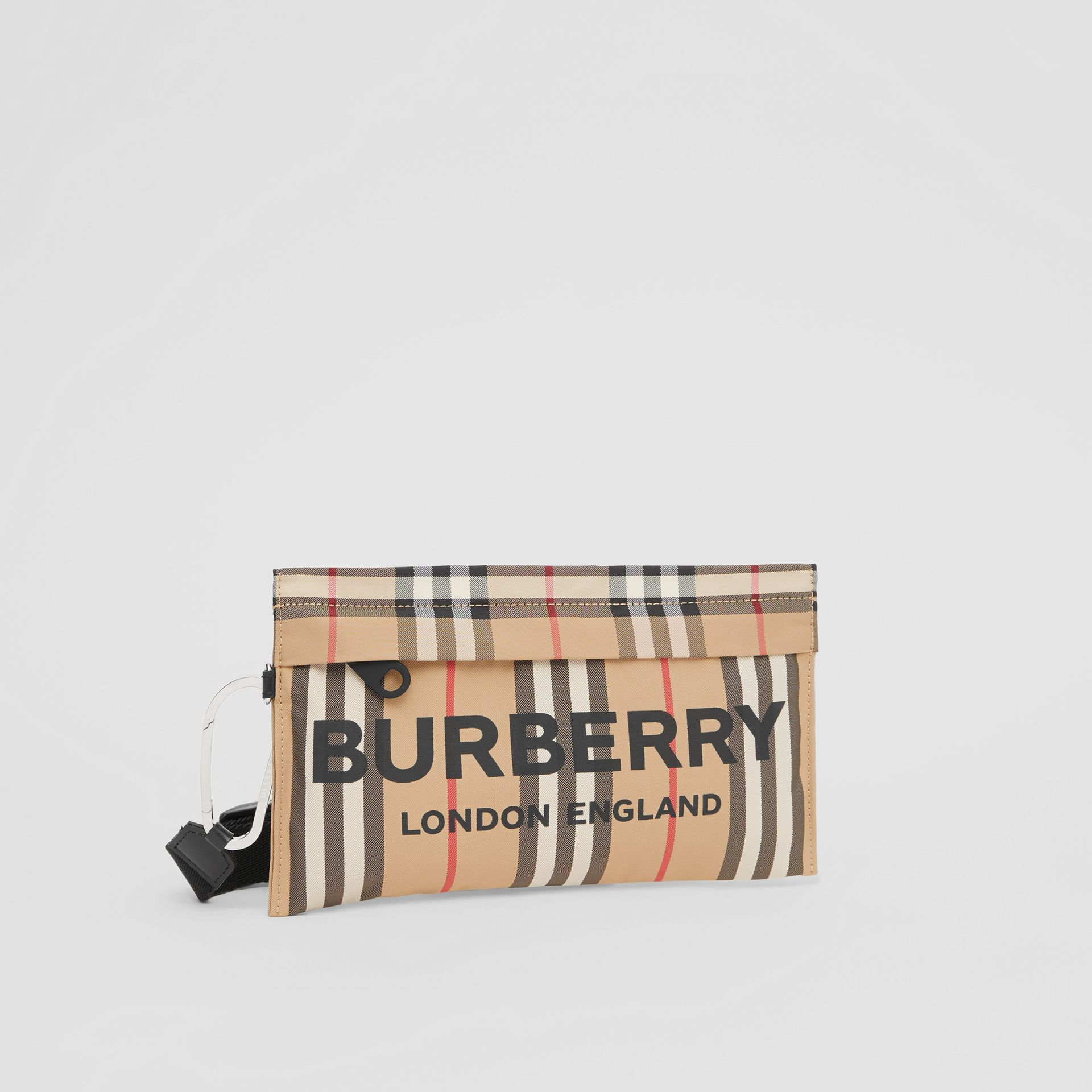 Logo Print Icon Stripe Nylon Zip Pouch in Archive Beige - Women | Burberry - gallery image 6