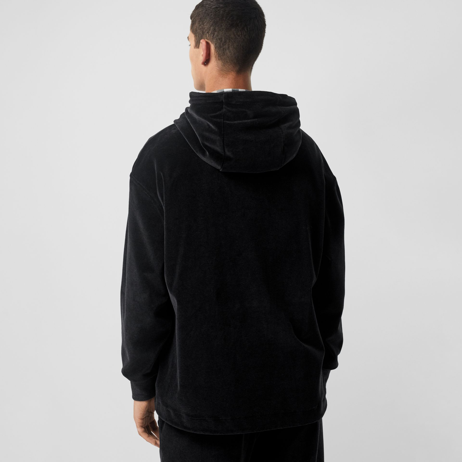Embroidered Chequer EKD Velour Hoodie in Steel Grey Melange - Men | Burberry United States - gallery image 2