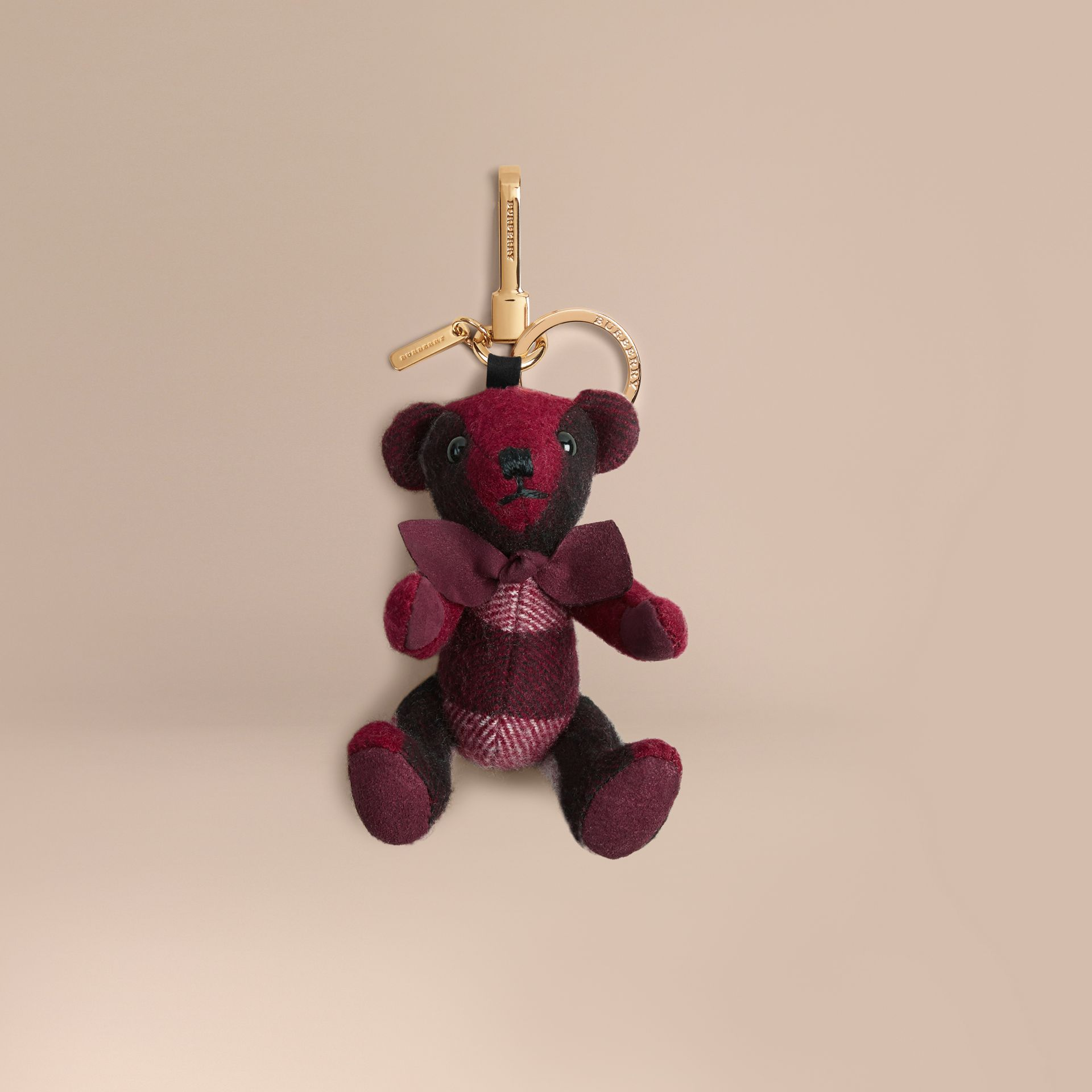 Plum Thomas Bear Charm in Check Cashmere Plum - gallery image 1