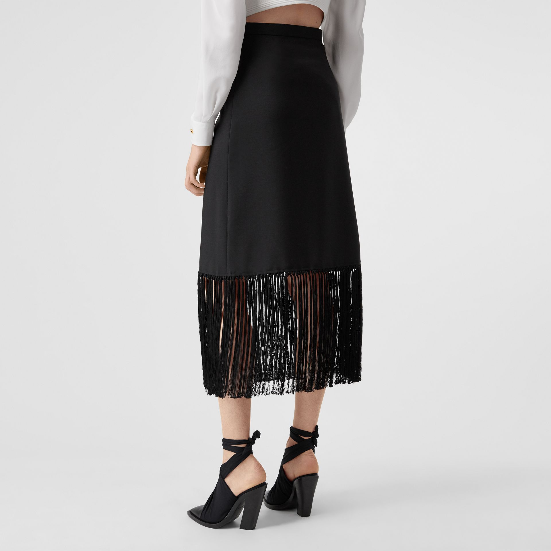 Fringed Mohair Wool A-line Skirt in Black - Women | Burberry United Kingdom - gallery image 2