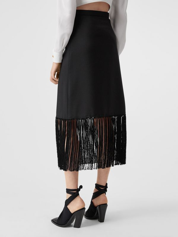 Fringed Mohair Wool A-line Skirt in Black - Women | Burberry United Kingdom - cell image 2