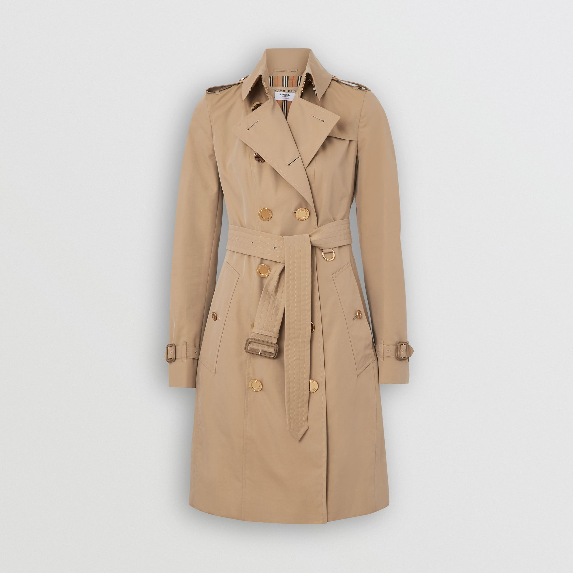 Gold Button Cotton Gabardine Trench Coat in Honey - Women | Burberry Canada - gallery image 3
