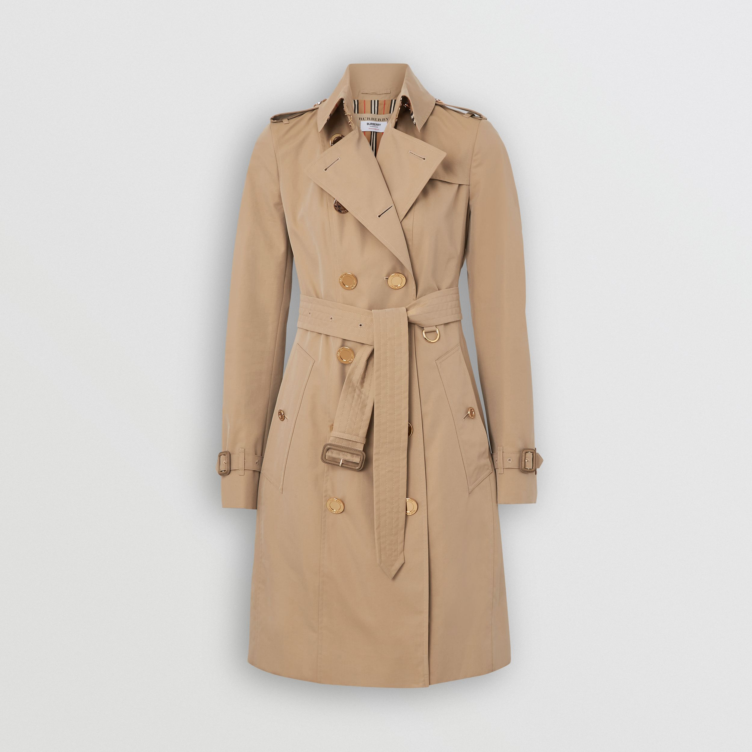 Gold Button Cotton Gabardine Trench Coat in Honey - Women | Burberry - 4