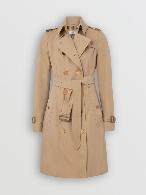 Gold Button Cotton Gabardine Trench Coat in Honey - Women | Burberry - cell image 3