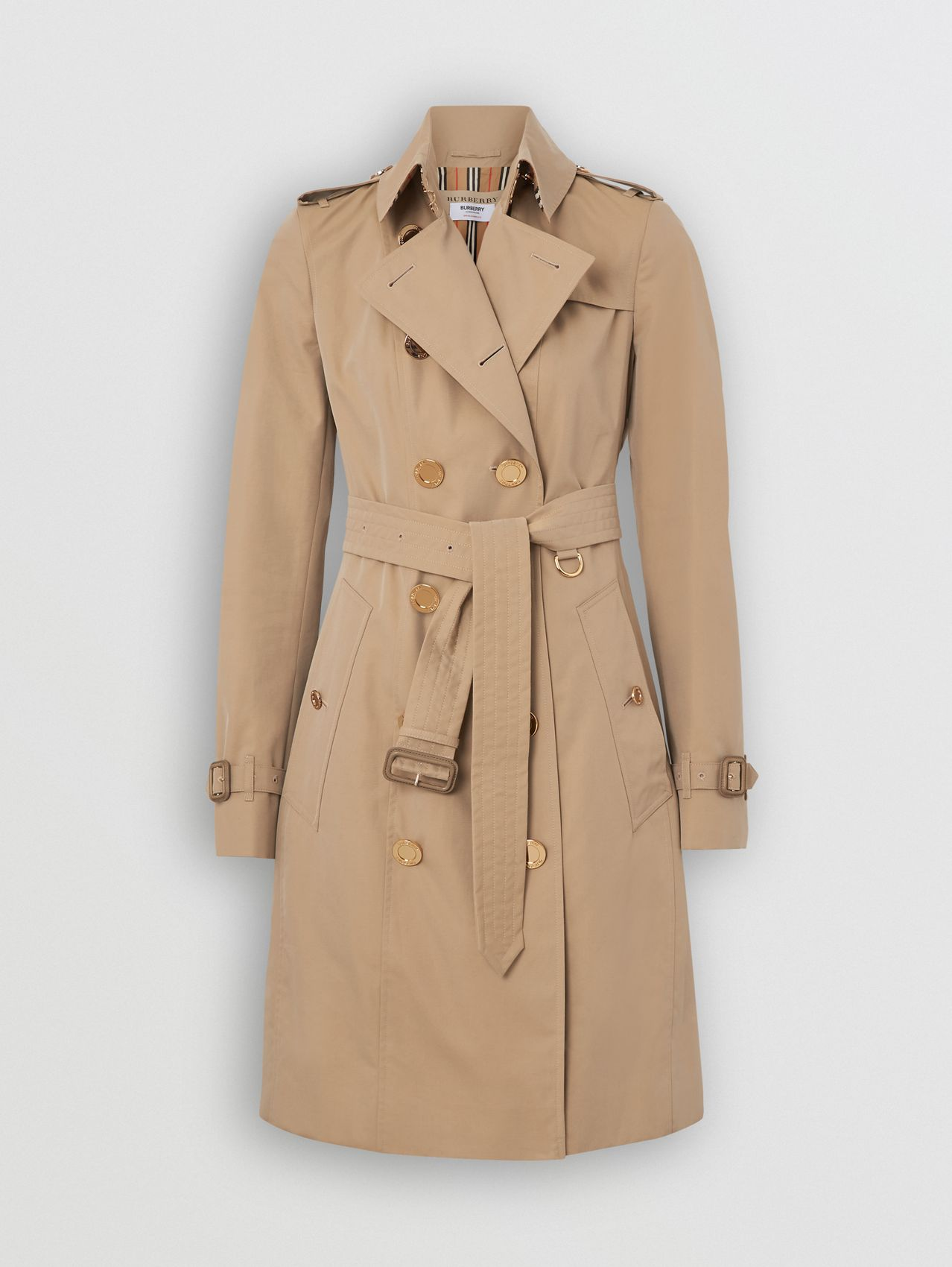 Gold Button Cotton Gabardine Trench Coat in Honey