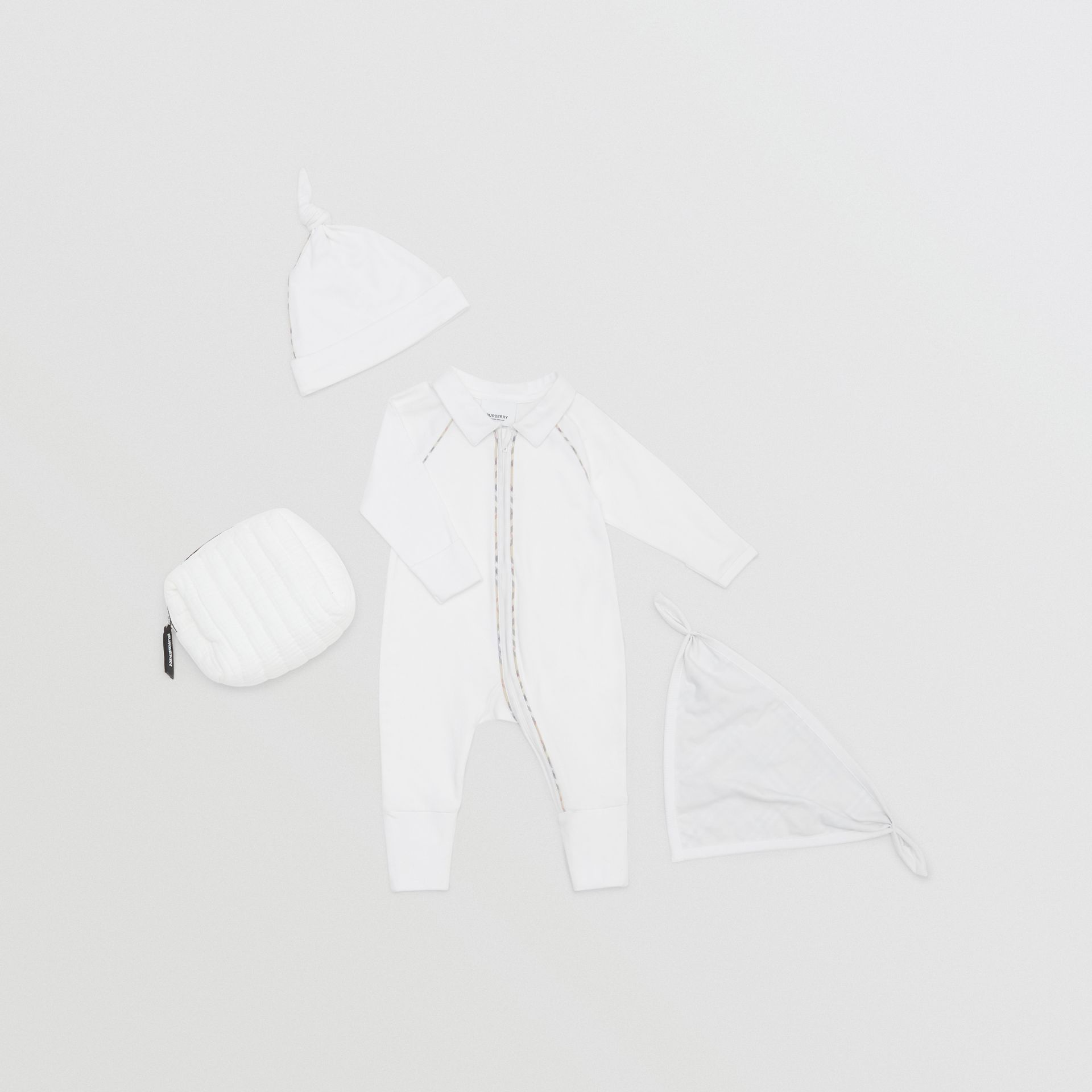 Check Trim Stretch Cotton Three-piece Baby Gift Set in White - Children | Burberry - gallery image 0