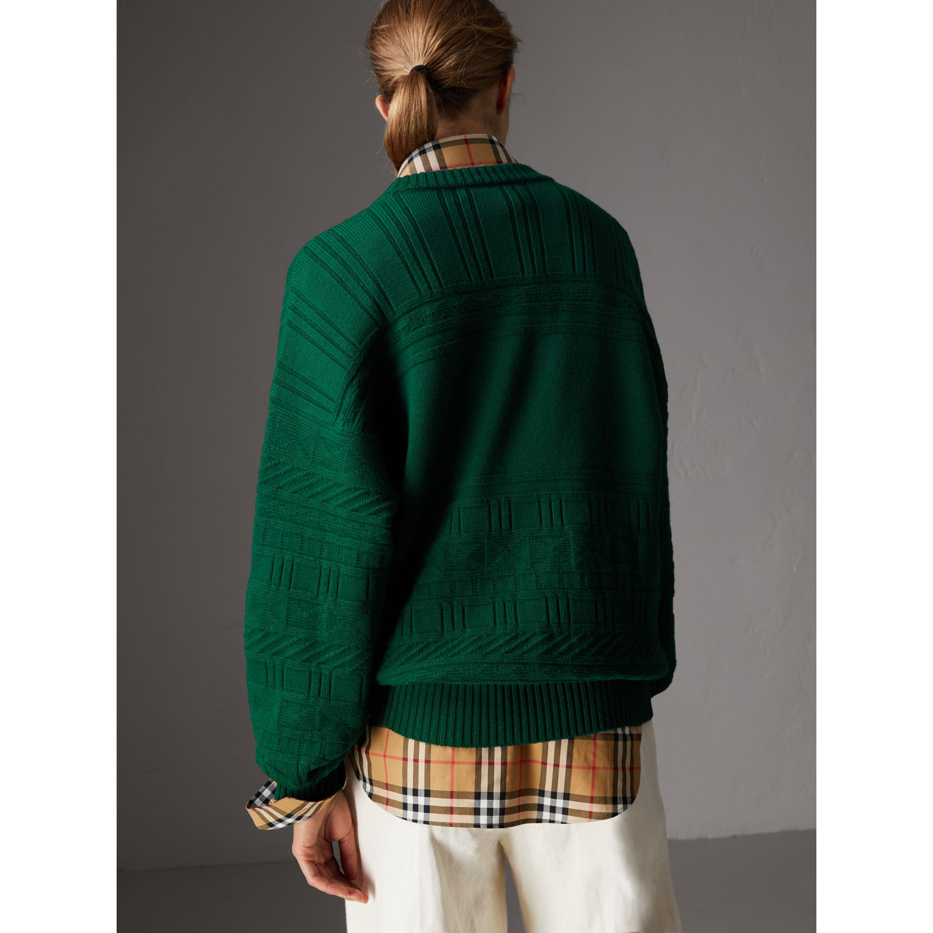 Reissued Wool Sweater in Dark Green - Women | Burberry Singapore - gallery image 2