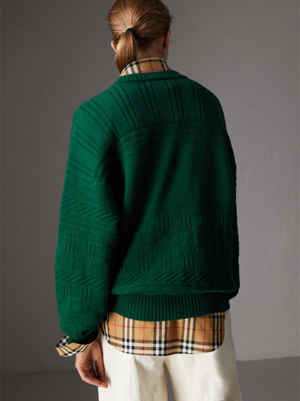 Reissued Wool Sweater in Dark Green - Women | Burberry Canada - cell image 2