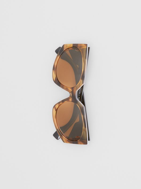 Geometric Frame Sunglasses in Bright Tortoiseshell - Women | Burberry - cell image 3
