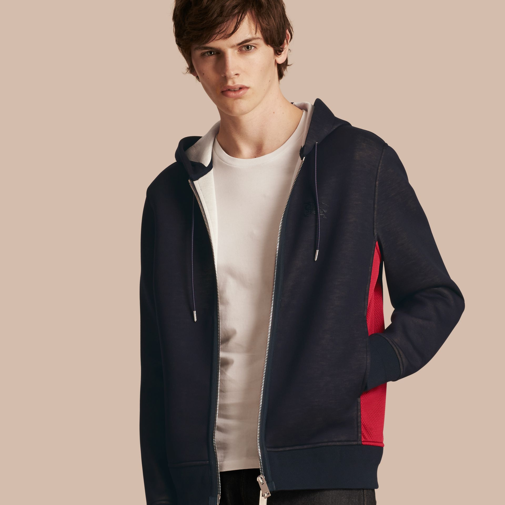 Two-tone Jersey Hooded Top Navy - gallery image 1
