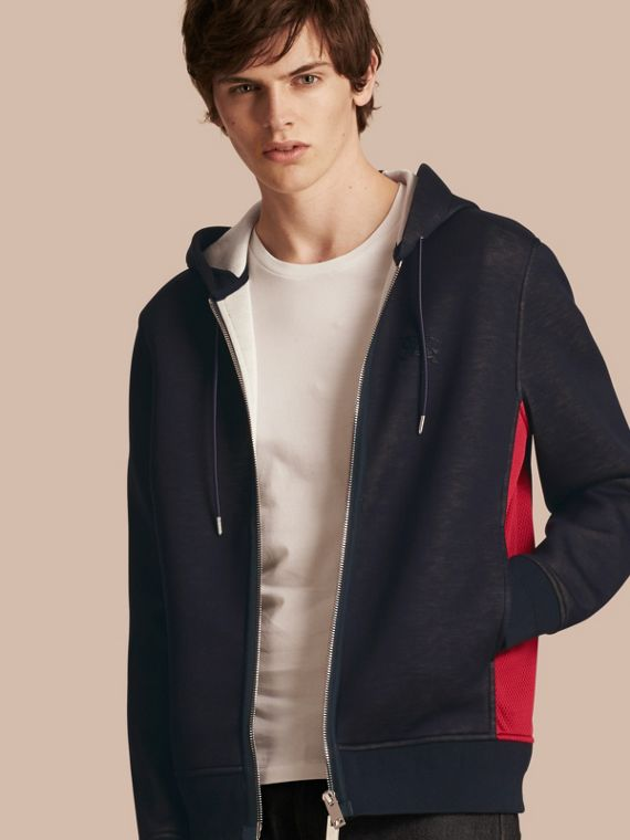 Two-tone Jersey Hooded Top Navy