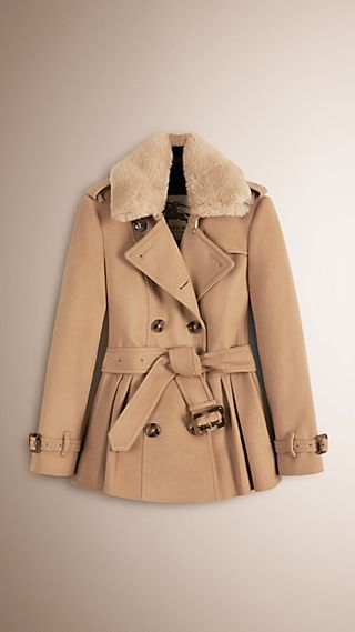 Detachable Fur Trim Skirted Wool Jacket