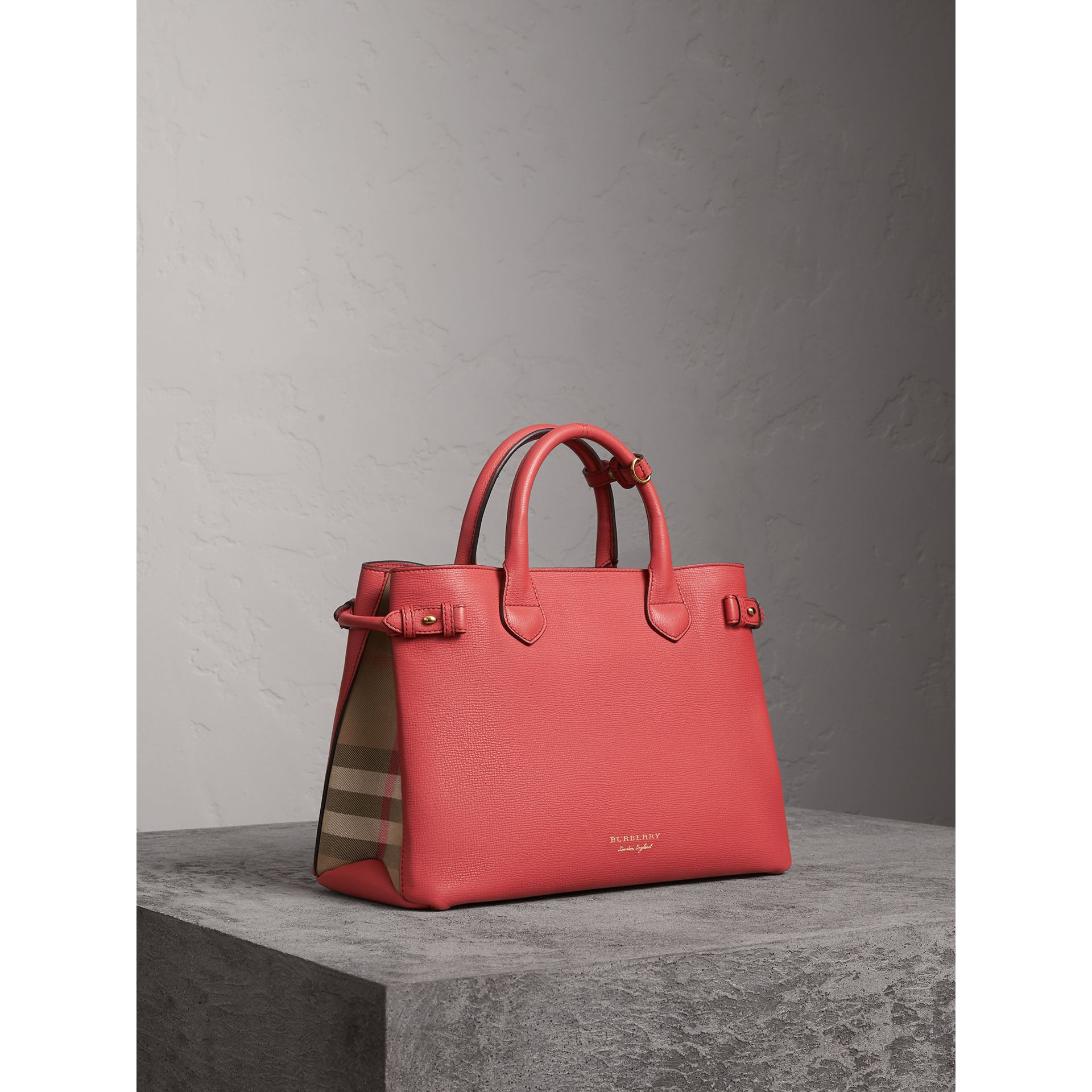 The Medium Banner in Leather and House Check in Cinnamon Red - Women | Burberry Singapore - gallery image 1