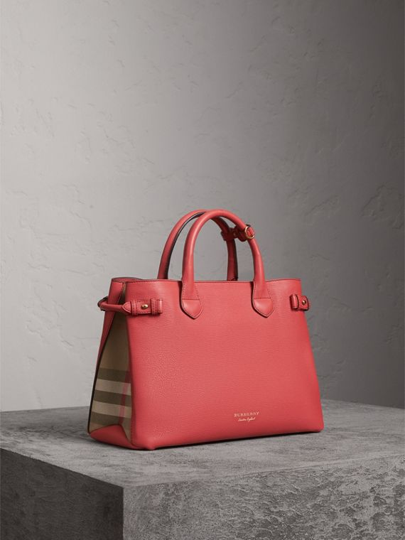 The Banner media in pelle con motivo House check (Rosso Cannella) - Donna | Burberry