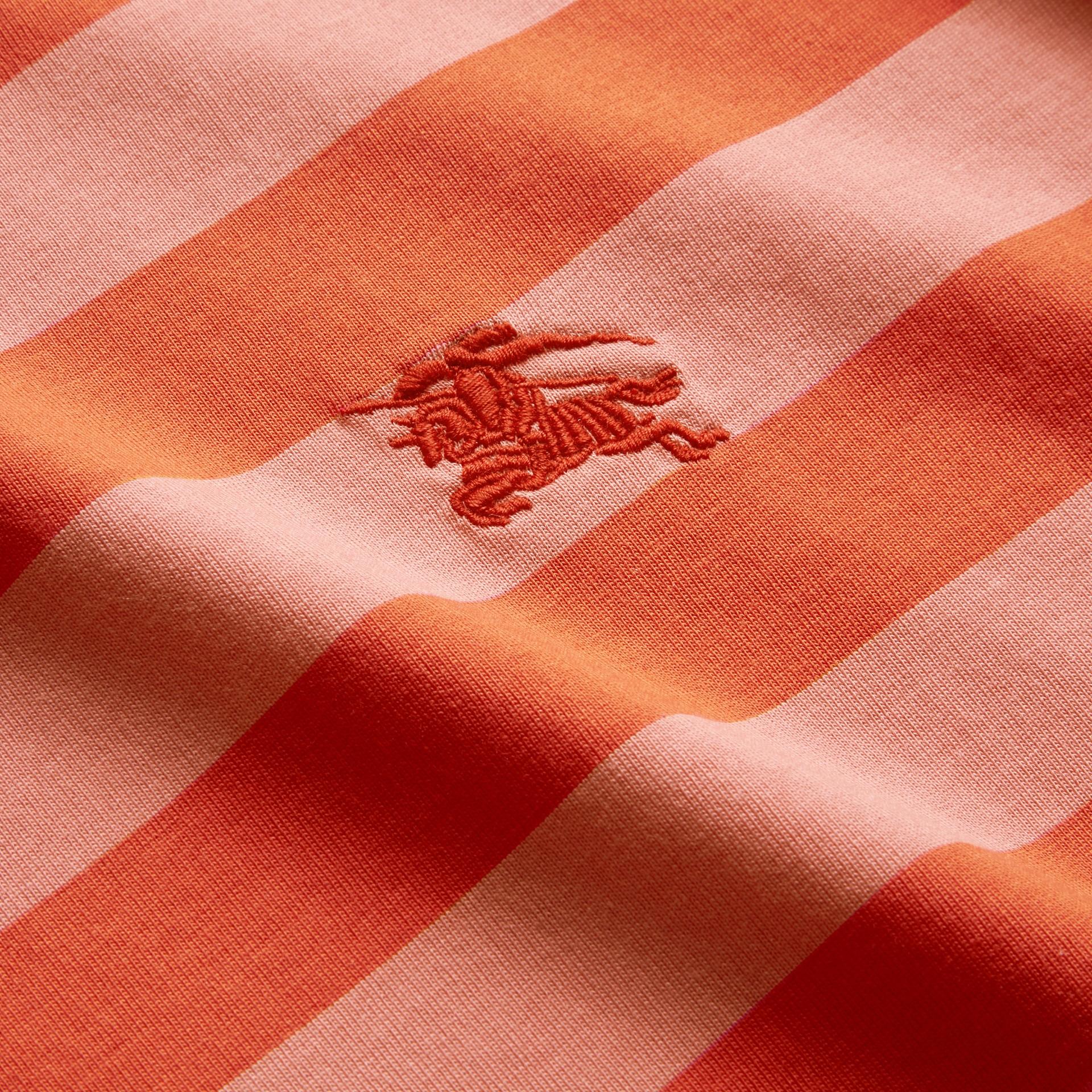 Striped Cotton T-Shirt Orange/rose Pink - gallery image 2