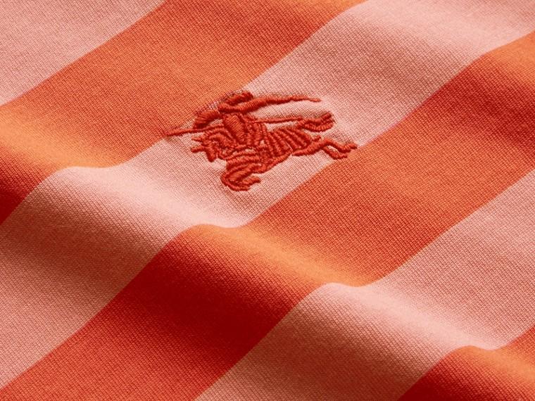 Striped Cotton T-Shirt Orange/rose Pink - cell image 1