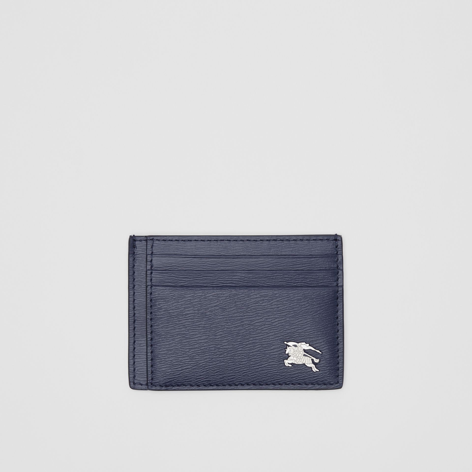 Grainy Leather Card Case in Navy - Men | Burberry Hong Kong - gallery image 0