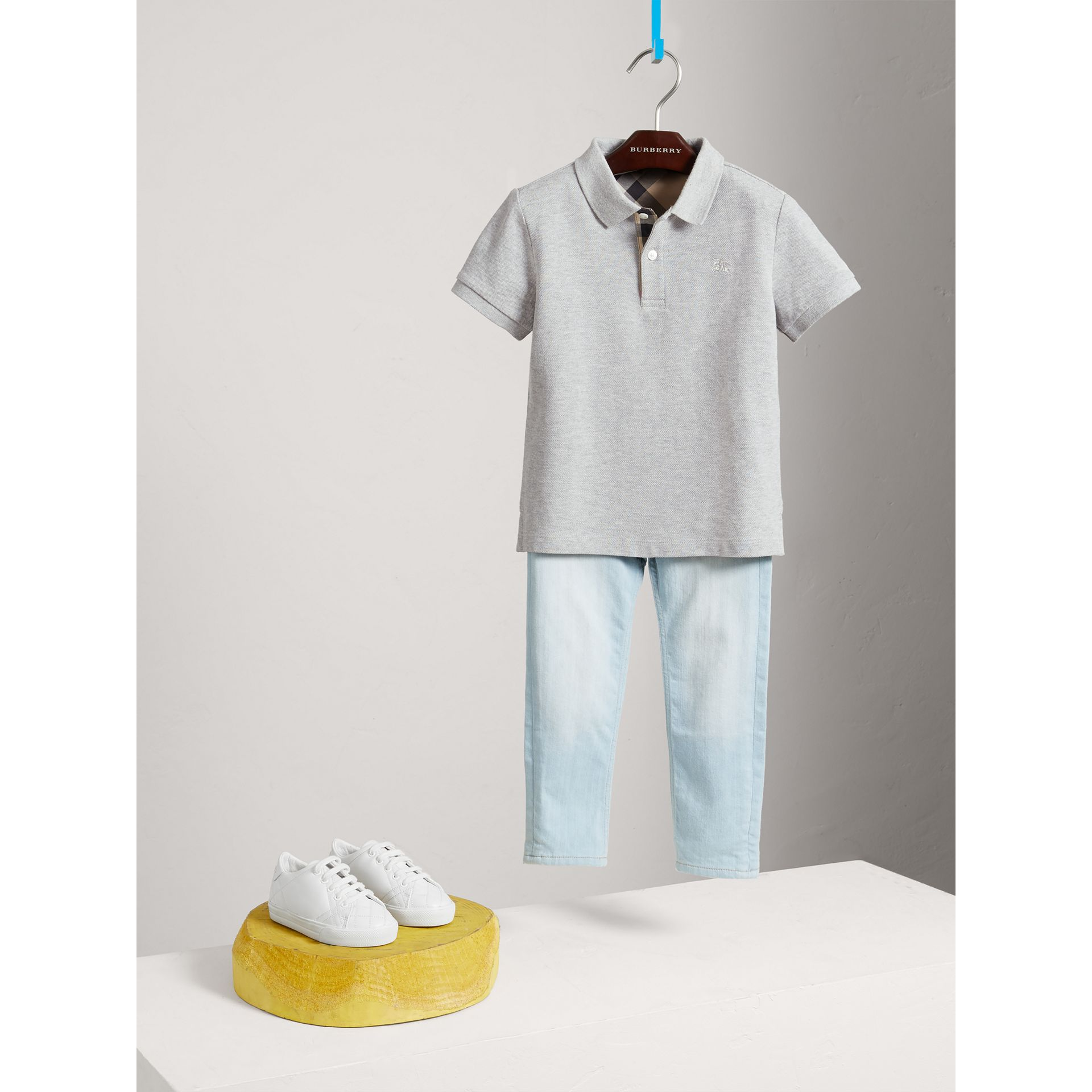 Check Placket Polo Shirt in Pale Grey Melange - Boy | Burberry United Kingdom - gallery image 2