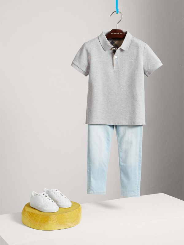 Check Placket Polo Shirt in Pale Grey Melange - Boy | Burberry - cell image 2