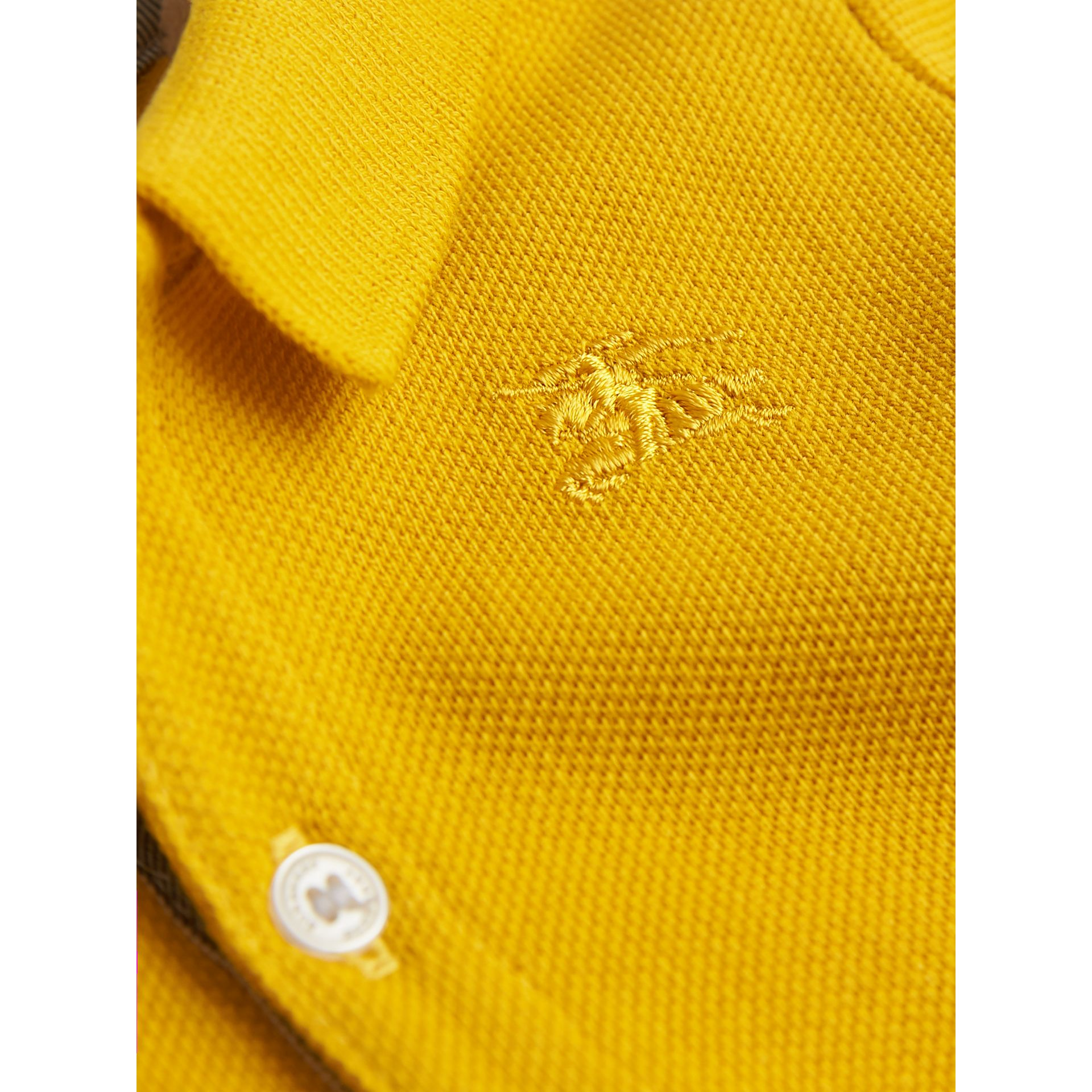 Check Placket Polo Shirt in Amber Yellow | Burberry United Kingdom - gallery image 2