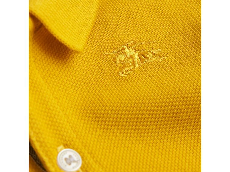 Check Placket Polo Shirt in Amber Yellow | Burberry United Kingdom - cell image 1