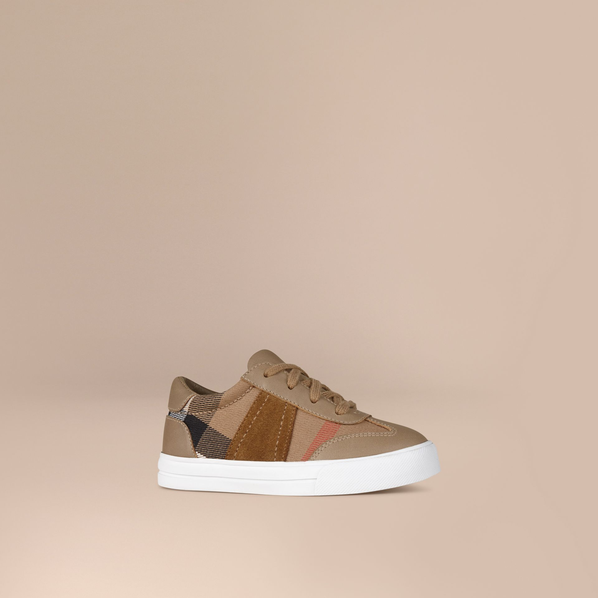 House Check and Leather Trainers in Mink Grey - Boy | Burberry United States - gallery image 1
