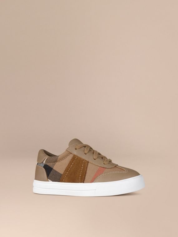House Check and Leather Trainers - Boy | Burberry Singapore