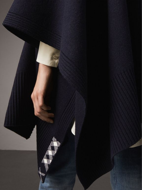 Shawl Collar Wool Cashmere Poncho in Indigo - Women | Burberry - cell image 1