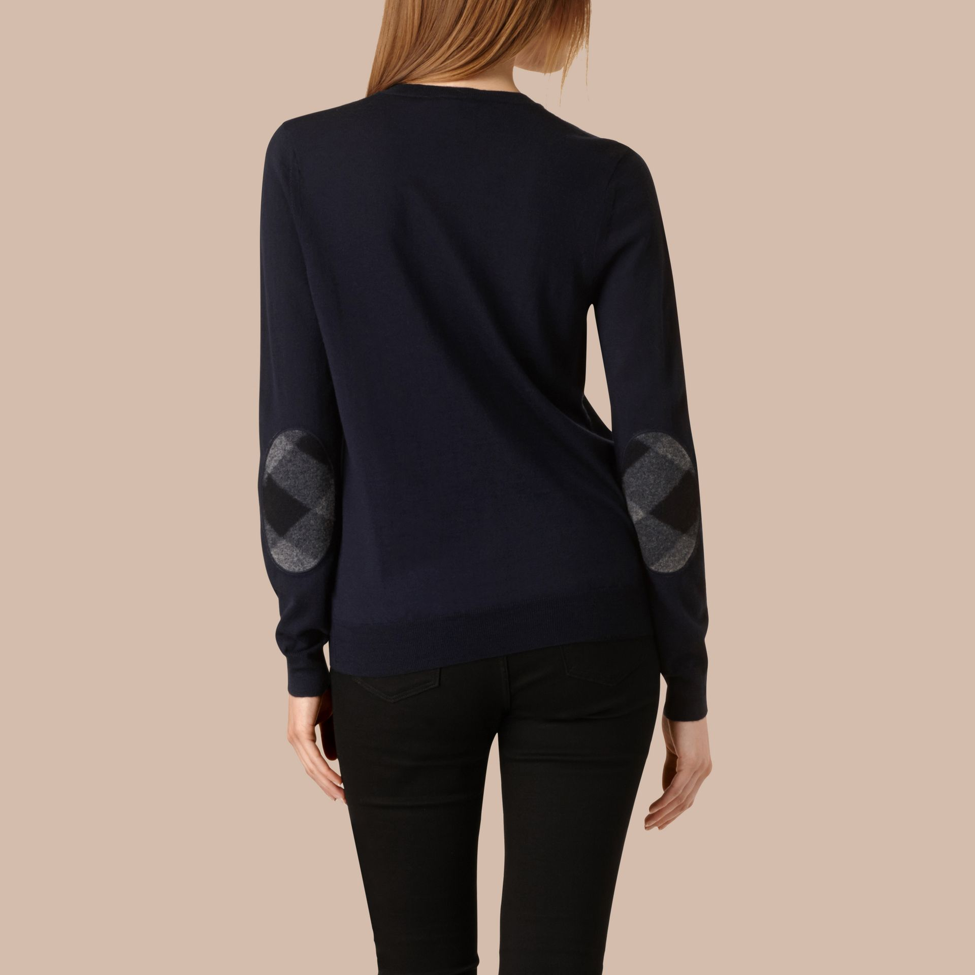 Check Detail Merino Wool Crew Neck Sweater in Navy - Women | Burberry - gallery image 3