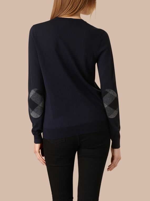 Check Detail Merino Wool Crew Neck Sweater in Navy - cell image 2