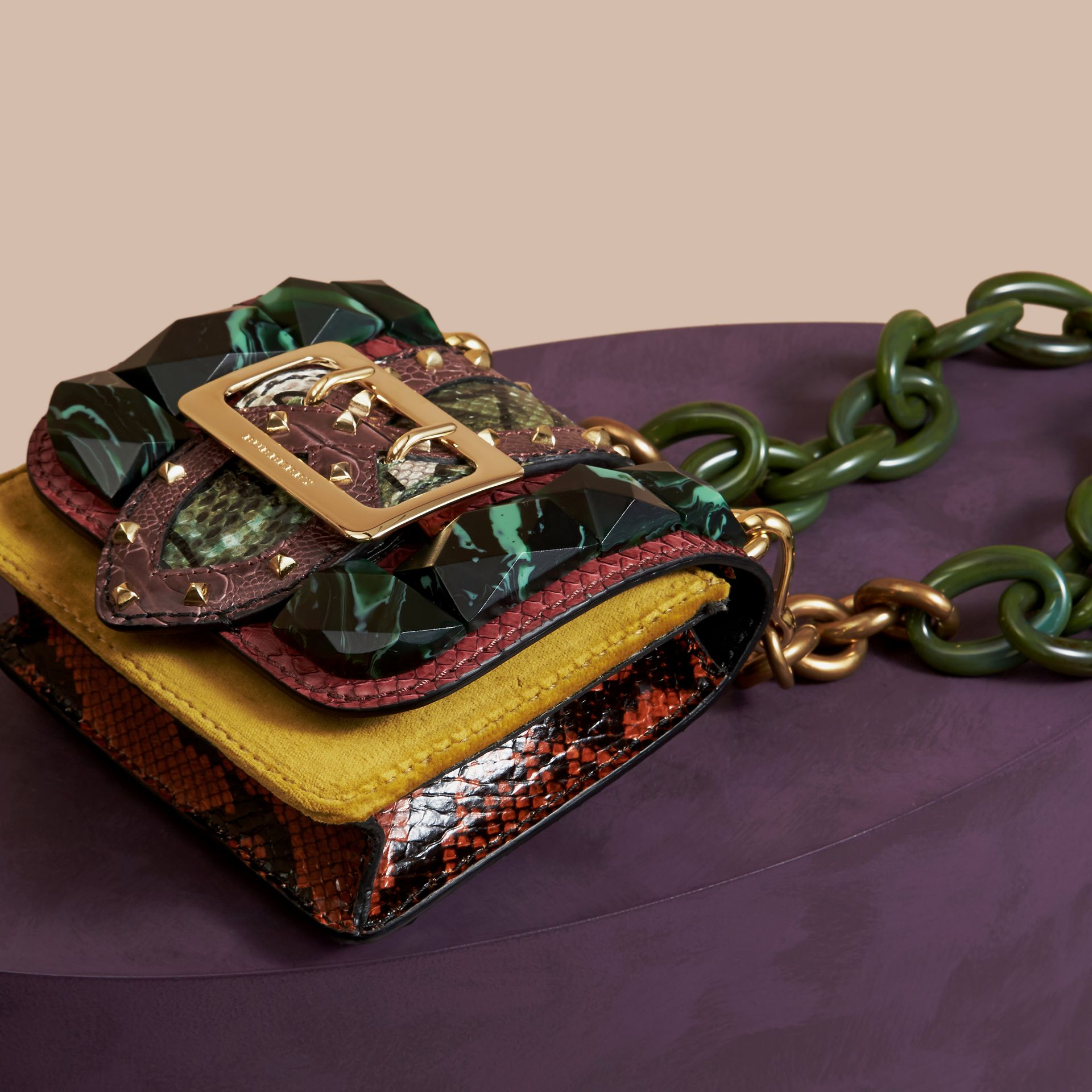 The Mini Square Buckle Bag in Velvet and Snakeskin Bordeaux - gallery image 6