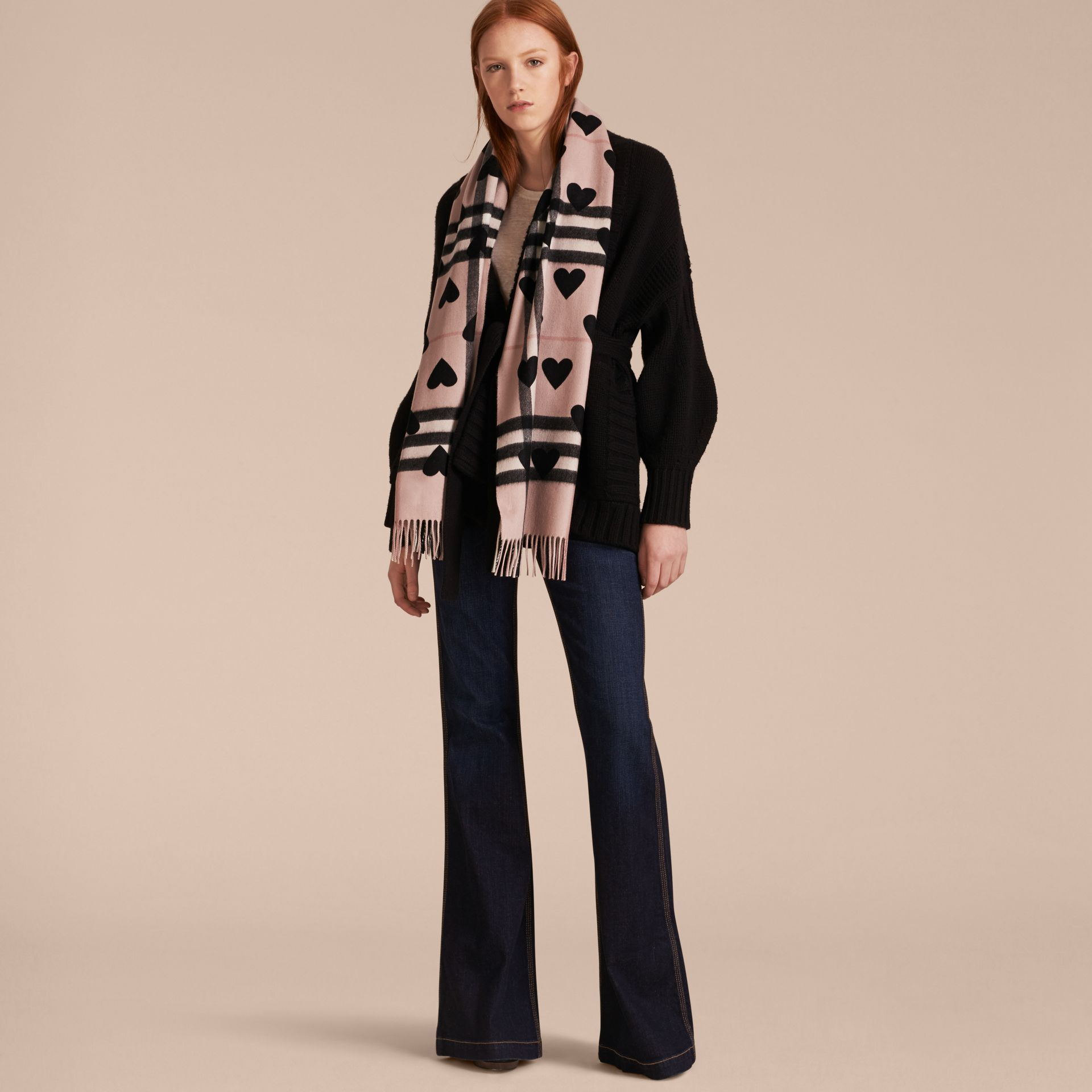 The Classic Cashmere Scarf in Check and Hearts Rose/black - gallery image 3