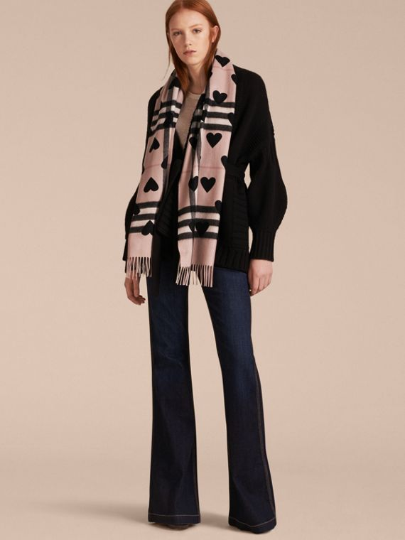 Ash rose/black The Classic Cashmere Scarf in Check and Hearts - cell image 2