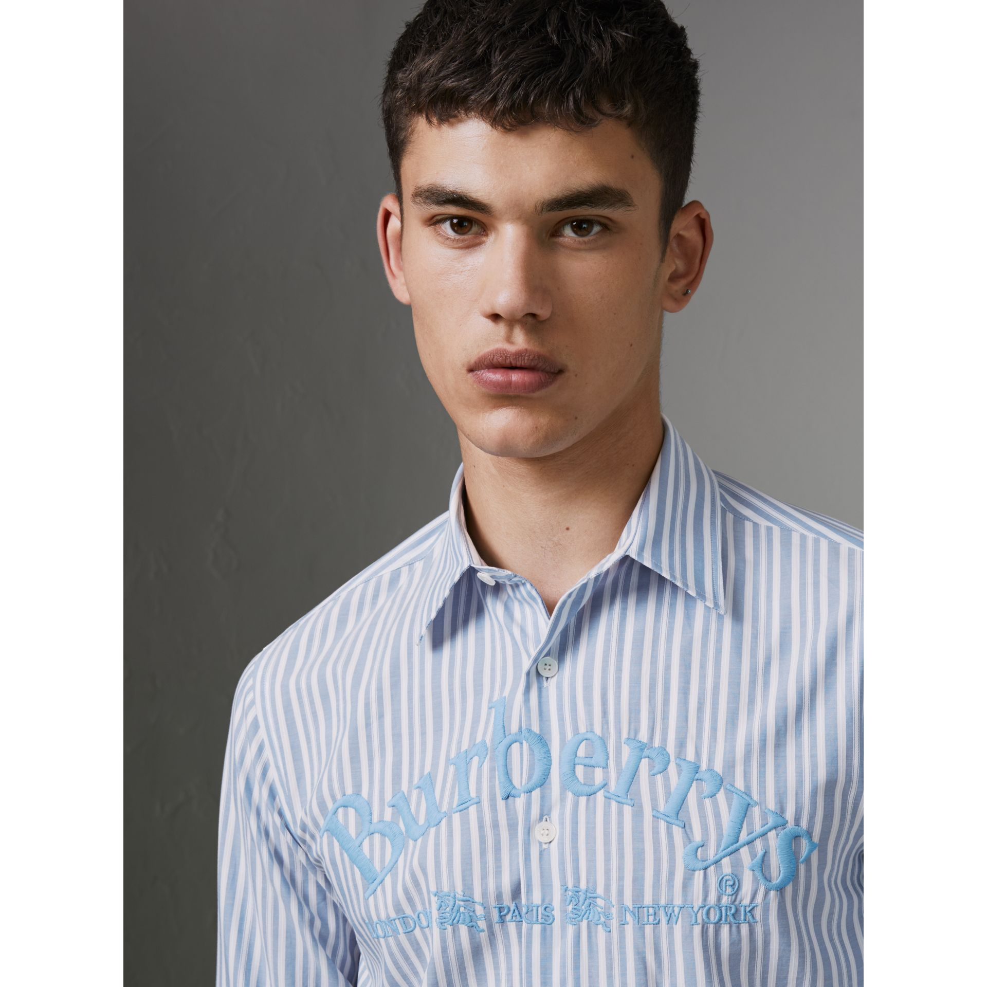 Embroidered Archive Logo Striped Cotton Shirt in Powder Blue - Men | Burberry - gallery image 1